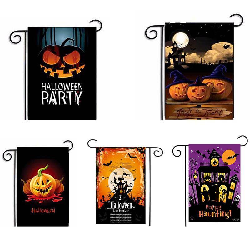 Bandeira Halloween Party Printed Bandeira Garden 47 * 32 centímetros Pattern Halloween Pumpkin Bandeira linho Série da abóbora T3I5989