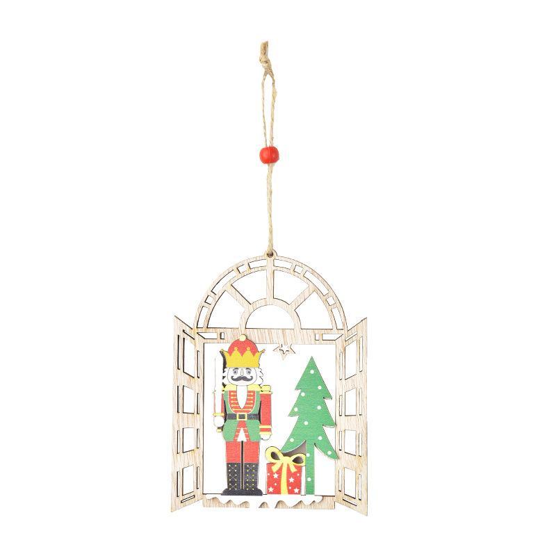 Новогоднее украшение деревянный орех солдат кулон украшения творческий окно кулон Рождественская елка кулон T3I51197