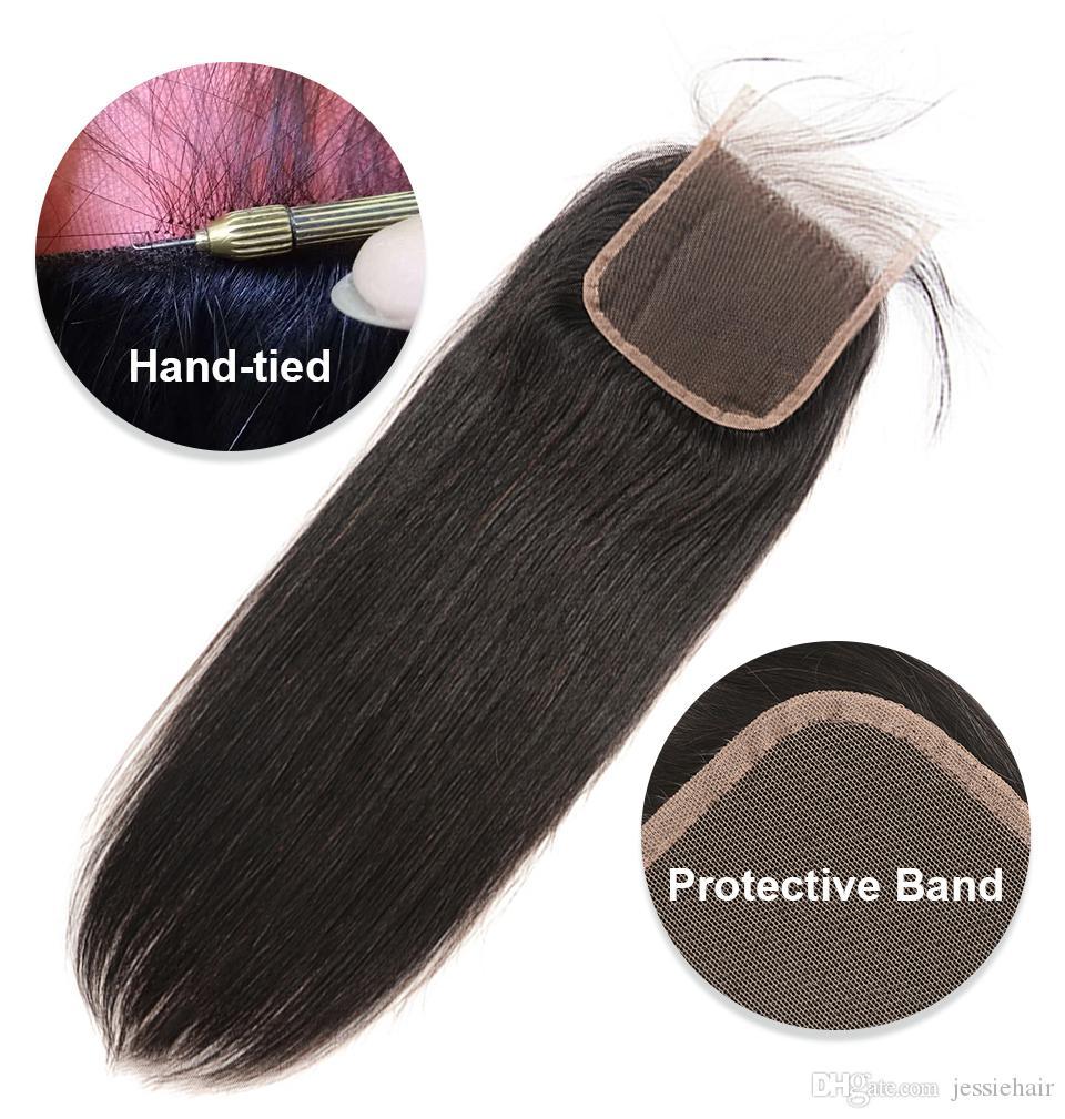 Merletto svizzero peruviano vergine diritta merletto dei capelli umani frontale chiusura 4 * 4inch libero / Medio / Parte terza chiusure superiori dei capelli di estensione Pezzo