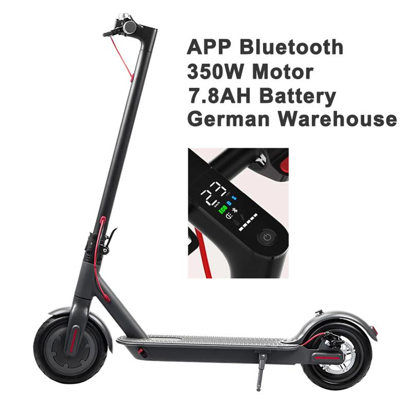 Alemania Almacén Scooter eléctrico D8 pro inteligente Scooter E Monopatín 8.5inch 30 kilometros 350W 25 KM / H 30KM Motor plegable Hoverboard Longboard Adultos