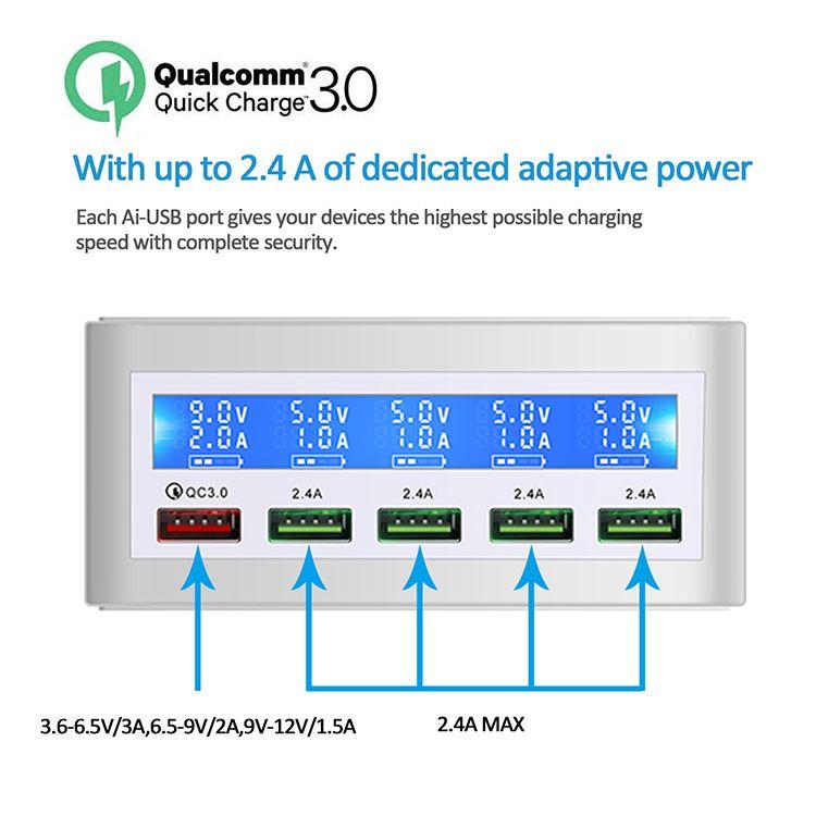 다중 USB 충전기 5 포트 50W 데스크탑 충전 스테이션 허브 QC 3.0 포트 빠른 어댑터 LCD 디스플레이