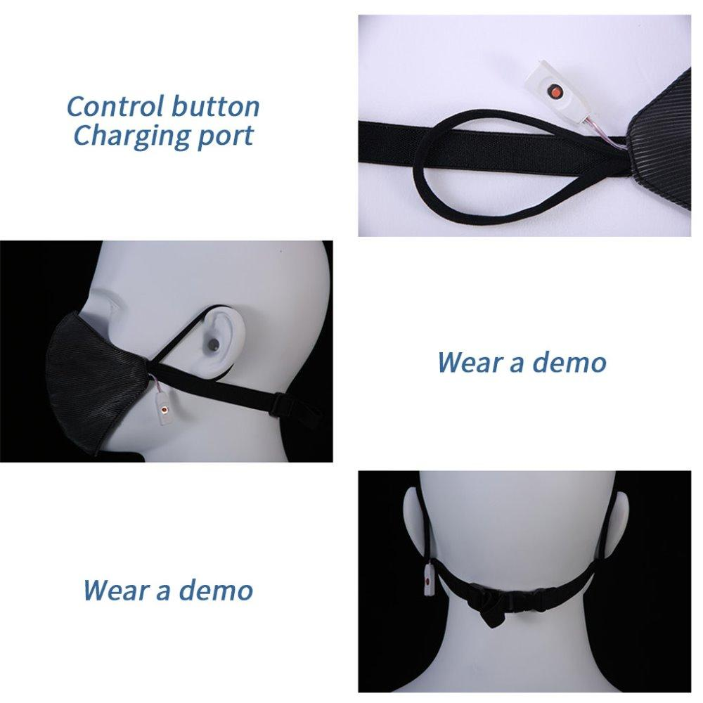 7 Cor fixo ou intermitente de fibra óptica acima luz conduzida máscara facial com filtro válvula de respiro para suportes de barras partido DJ partido fluorescente
