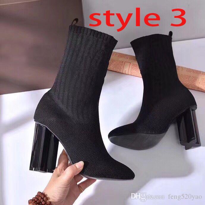 الجوارب الأحذية الخريف شتاء جديد إمرأة أحذية محبوك مرونة أحذية مثير امرأة مارتن الأحذية الكعوب سميكة أحذية عالية الكعب حجم كبير 35-41-42