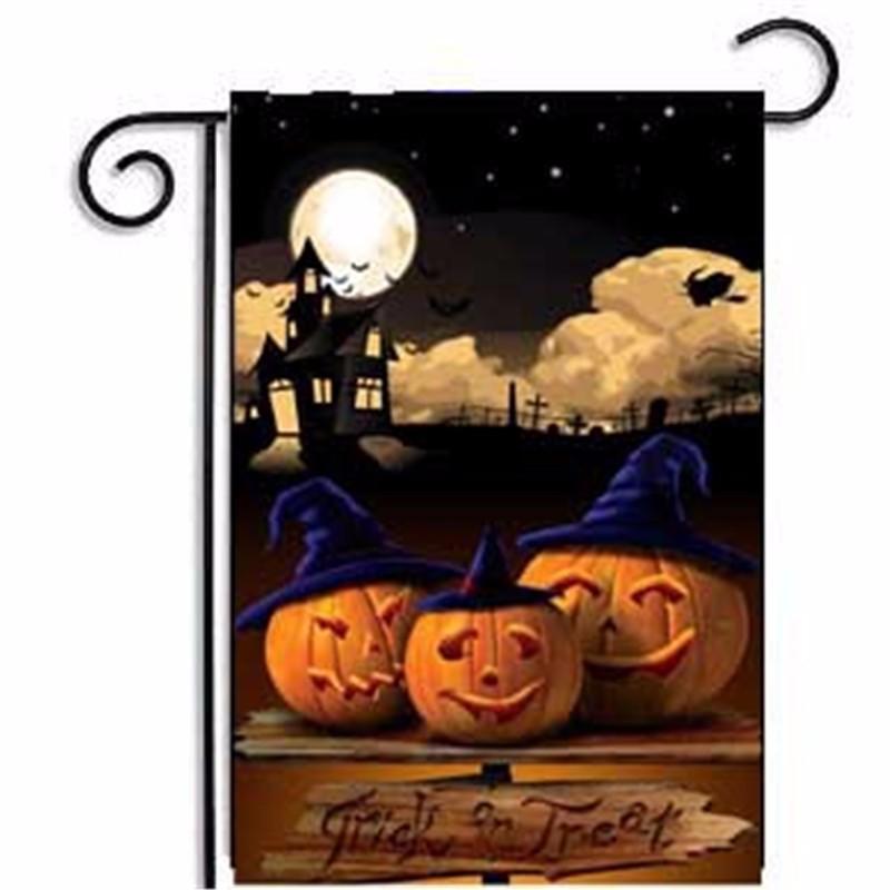 47 * 32cm Cadılar Bayramı Kabak Desen Bayrak Keten Kabak Serisi Bahçe Bayrak Baskılı Cadılar Bayramı Partisi Bayrağı T3I5989