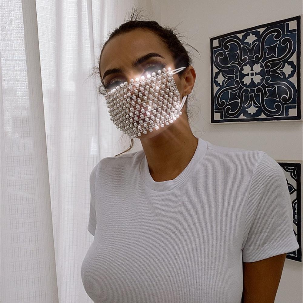 SHINY Strass Perla Face Mask Decorazioni le donne Bling Copertura di Cristallo Viso gioielli Cosplay Decor Party Regalo all'ingrosso