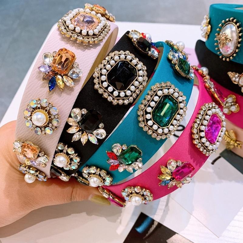 Bandeau Simulée Perle Bumble Bande Bandeaux Pour Femmes Accessoires pour femmes Baroque Vintage Crystal Crystal Bandeau Femelle Perles Coiffure