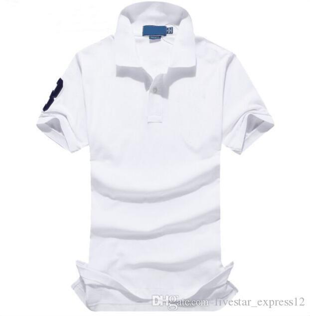 Nueva moda hombres algodón polo sólido camisa bordado grande bordado club clásico camisetas de manga corta polos casuales rojo azul marrón negro