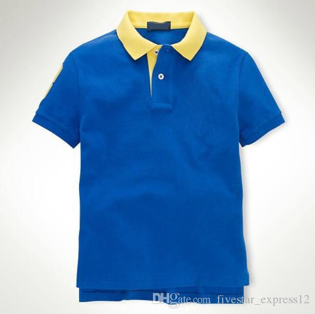 2017 New American Summer Men Solid Polo Shirt Big Horse Bordado Algodón Classic Mens Slim Fit Camisetas Tops Tees Cielo Azul Envío Gratis