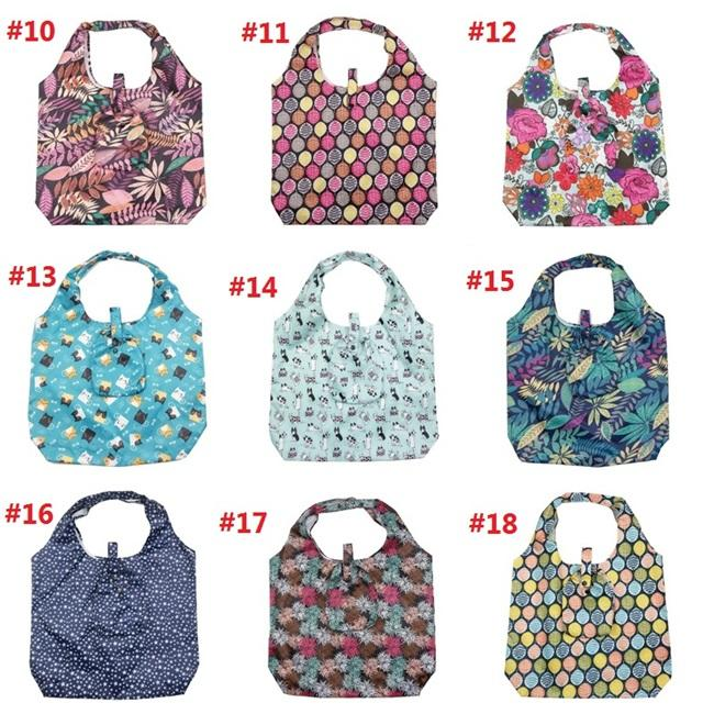 estilo padrão da manta de compras verde bolsa de compras saco de poliéster dobráveis 18 tipos de padrões de grande saco T3I51174 proteção ambiental