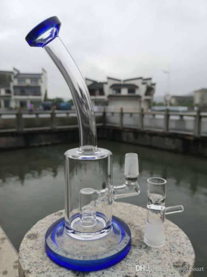 Hookahs Einzigartige Bong Dab Rigs Glas Bohrinseln Recycler Bubbler Doppel Honeycomb Percolator Wasserpfeife mit 14mm Joint