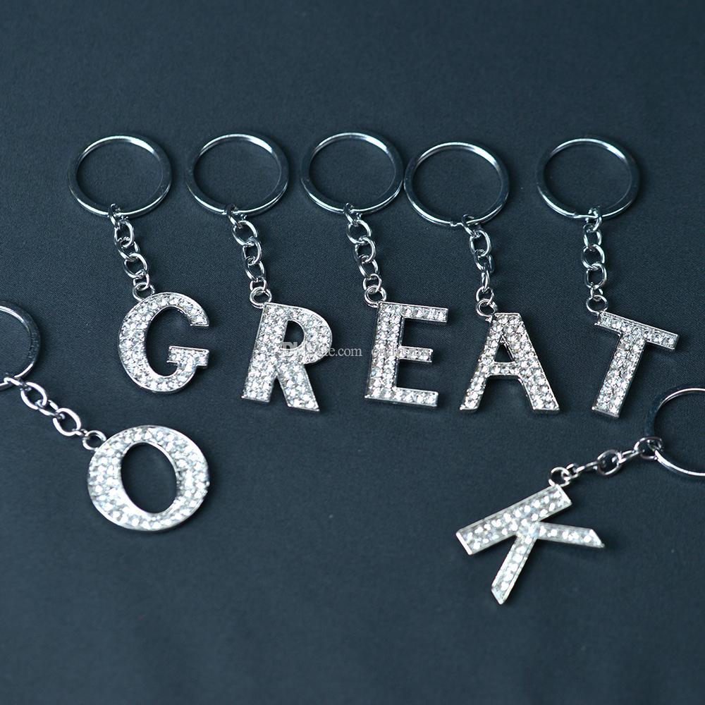 26 A Z kristall englische Buchstaben anfängliche Keychain Key Ringe Inhaber Tasche Anhänger Charme Modeschmuck Geschenk