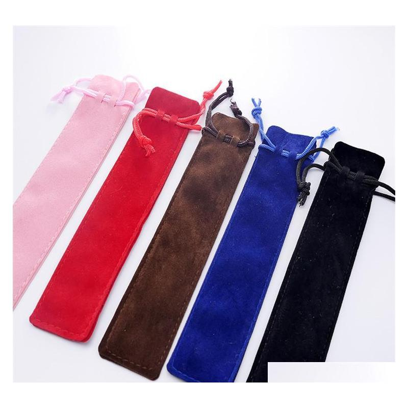 velvet pen pouch holder single pencil bag pen case with rope office school writing supplies student for crystal ballpoint pen