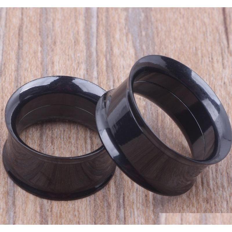 mix 5-20mm 36pcs stainless steel black internally threaded double flare flesh tunnel ear plug piercing body jewelry