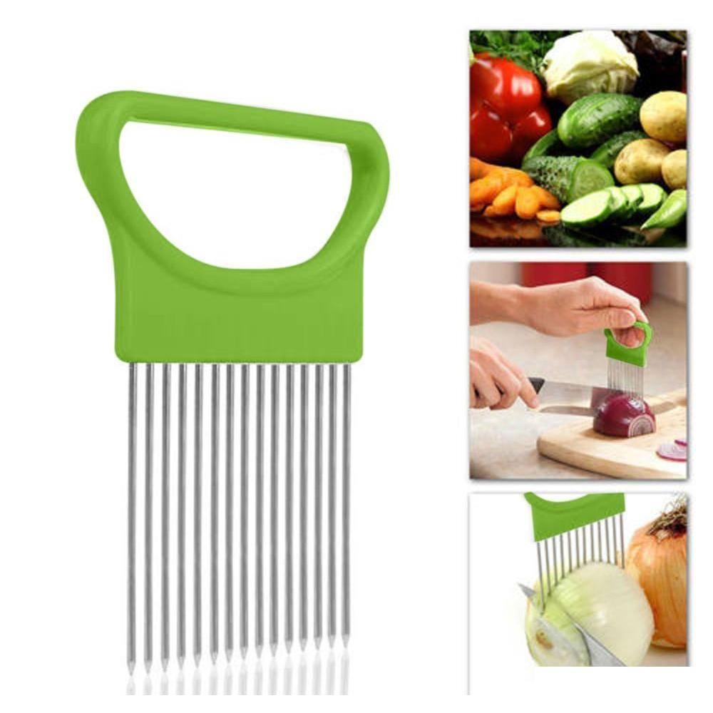 new shrendders & slicers tomato onion vegetables slicer cutting aid holder guide slicing cutter safe fork tools