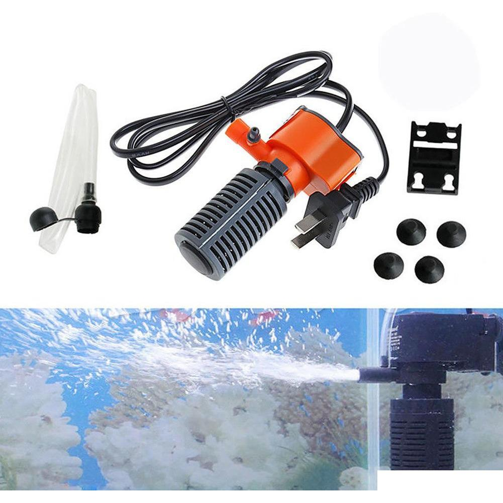 3 in 1 silent aquarium filter submersible oxygen internal pump sponge water with rain spray for fish tank air increase 3/5w