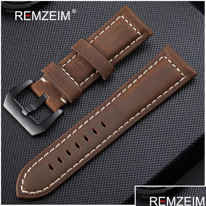 genuine leather watchband 20mm 22mm 24mm 26mm crazy horse nubuck sports outdoor watch band buckle strap relogio pulseira