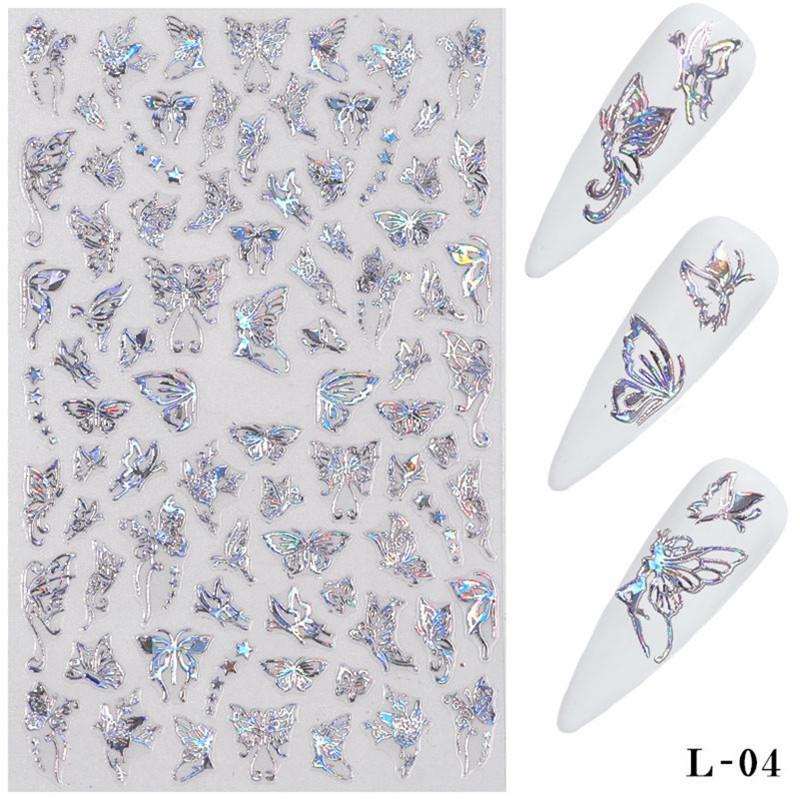 3D Farfalla Nail Art Stickers adesivi Cursori Adesivi Trasferimento colorato Decalcomanie Pellicole In Pellicole Involucri Decorazioni Laser