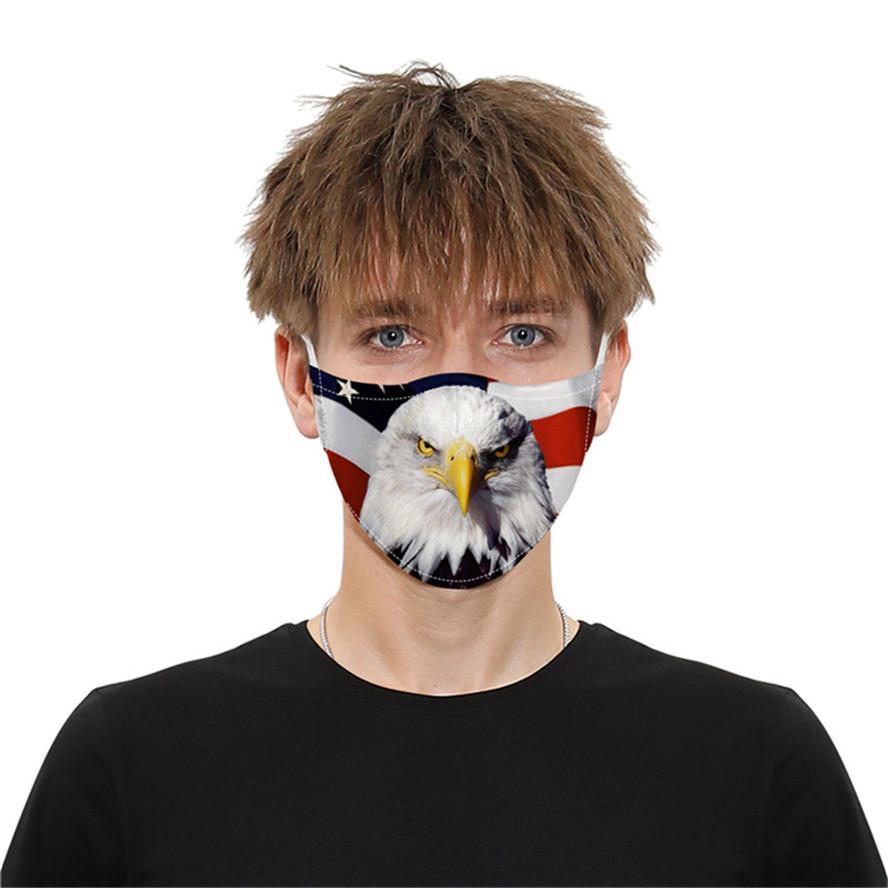 Mascarilla de cara de diseñador Bandera de cráneo Impresión digital Mascarillas de algodón a prueba de polvo PM2.5 Lavable Ajustable Ear Facemask Top Venta