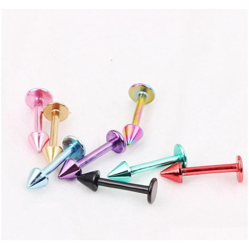 body jewelry l09 100pcs mix 8 color ,labret stud ring 316l stainless steel body piercing jewelry