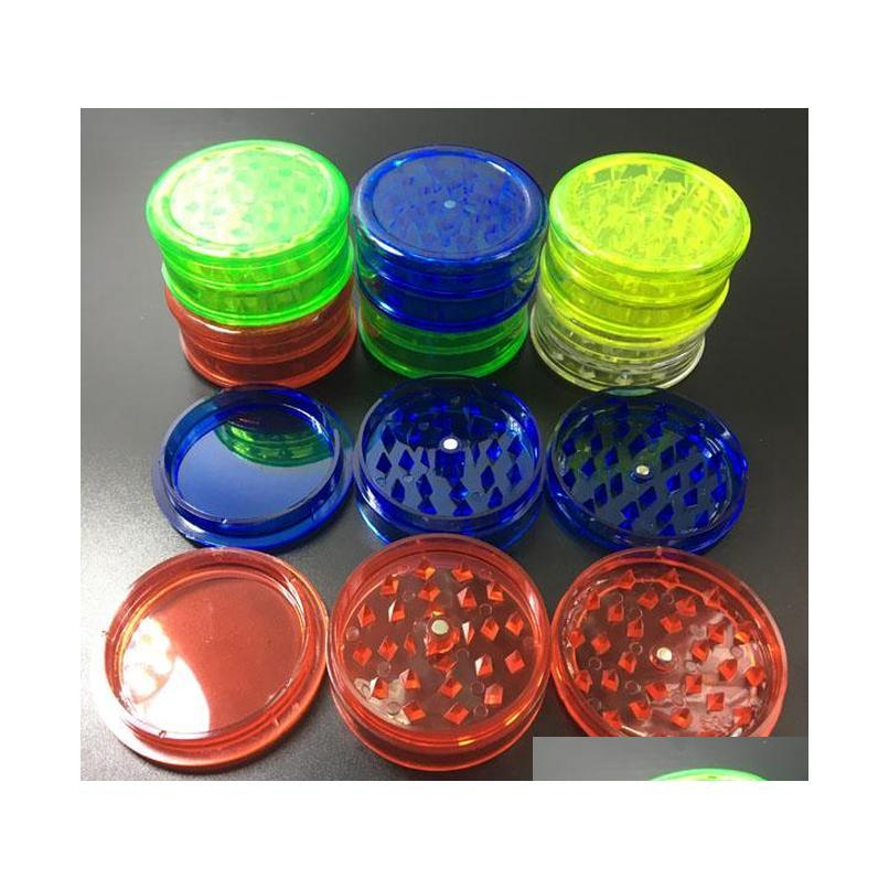 2018 herb grinder with 3layer 60mm plastic material herb grinders for smoke detectors pope smoking pipes acrylic grinders kka4649