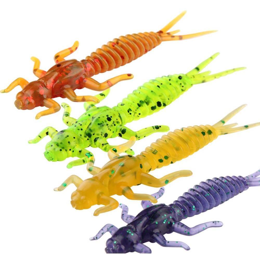 50pcs/lot soft larva fishing lure 60mm 1.4g dragonfly larva worm freshwater fishing bait lifelike silicone dragonfly fishing tackle