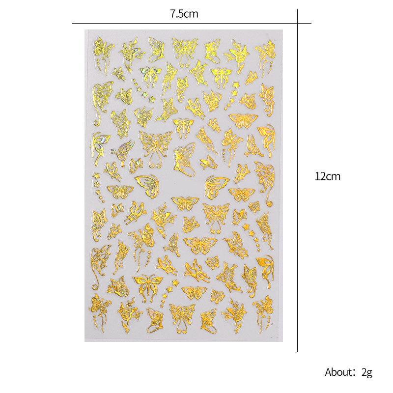 3d فراشة مسمار الفن ملصقات لاصقة المتزلجون التحويل الملونة الشارات رقائق الأغطية ديكورات الليزر