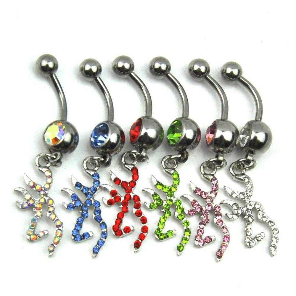 d0070a ( 7 colors ) browning deer dangles belly button ring belly button rings body navel belly rings dangle piercing jewelry