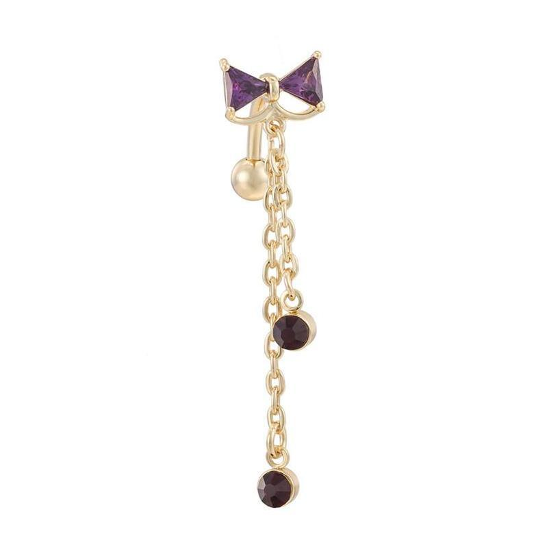 fashion reverse sexy bow gold chain cz triangle navel ring belly ring dangle body piercing for women