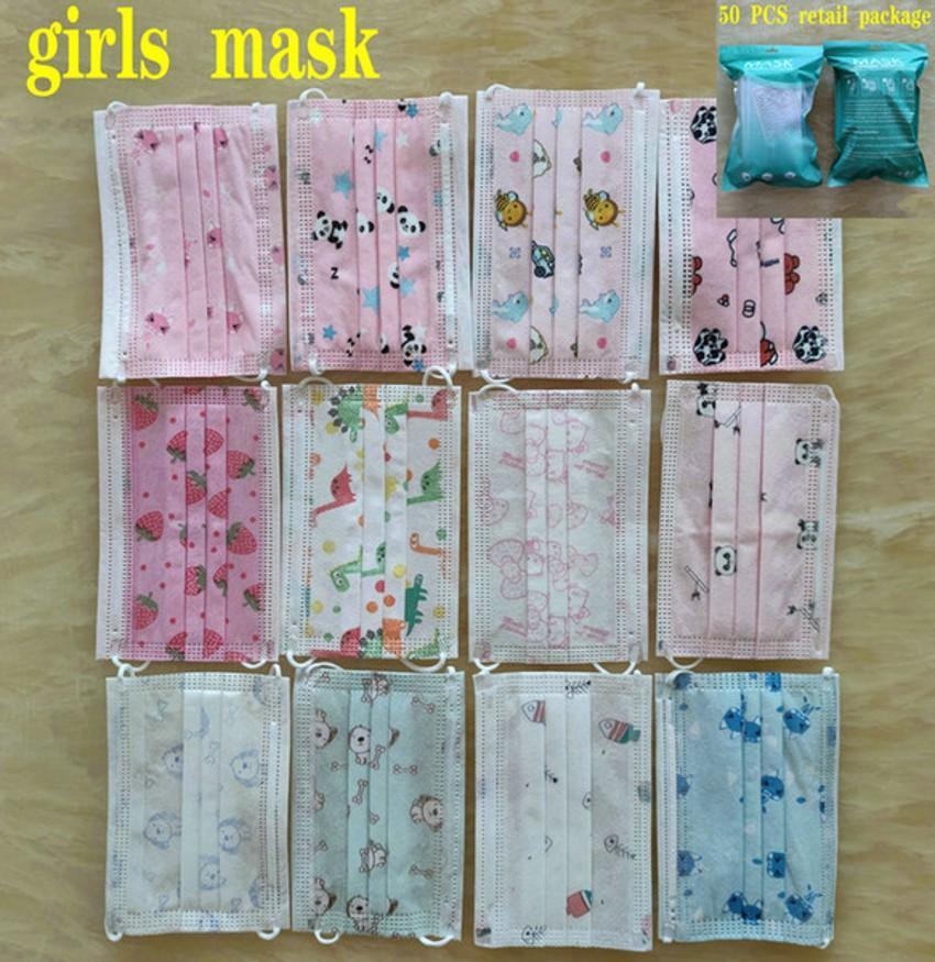 Couleurs 15 Masque Visage populaire 3 Couleurs Masque jetable Protection anti-poussière anti-poussière non tissée enfants mascarilla mascherina paquet de détail