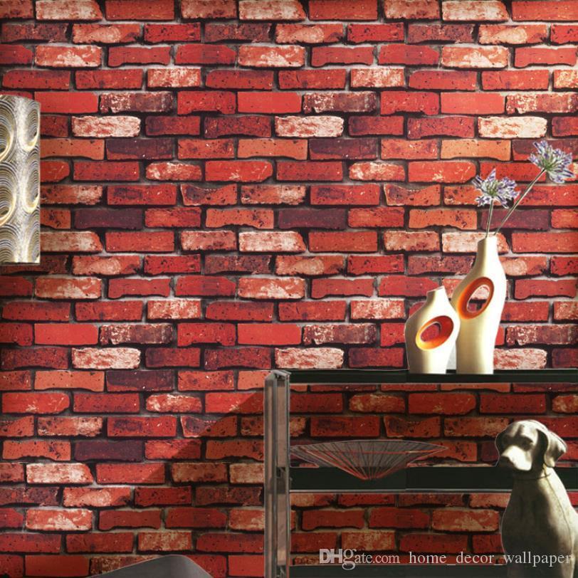 3D Vinyl Brick Wallpaper Living Room DIY Waterproof PVC ...