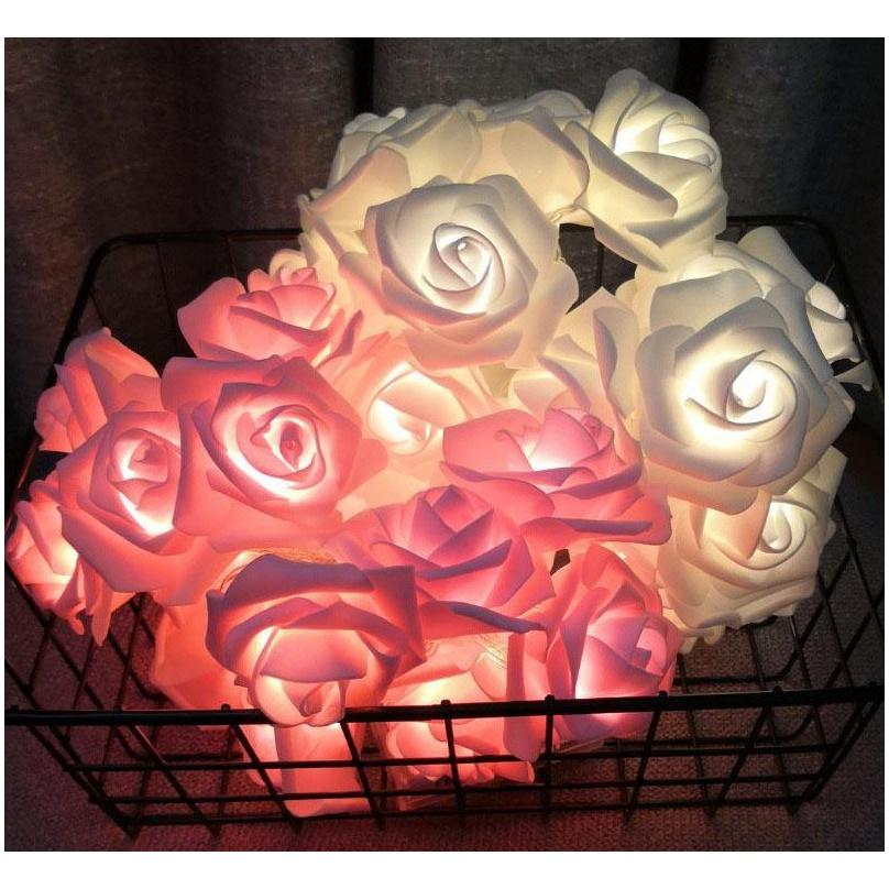 2M 10led Battery LED Rose Valentines Day Gifts Lights Holiday String Lights New Year Christmas Decorations for Home Valentines