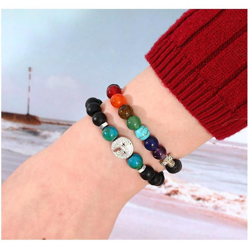 handmade 8mm 7 chakras natural lava stone beads bracelet for men buddha head tree of life owl elephant charm bracelet fashion jewelry