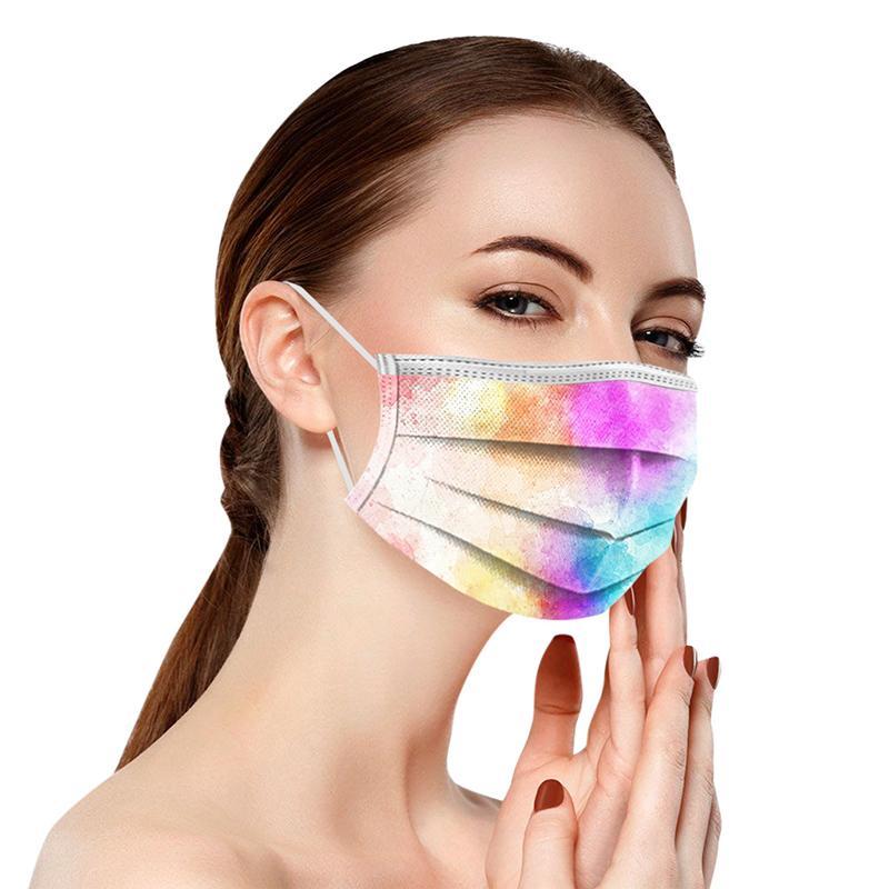 Erwachsene farbige Tie-Farbstoff-Einweg-Gesichtsmaske 3-lagen nicht gewebt Anti-Staubverschmutzung PM2.5 Mundabdeckung