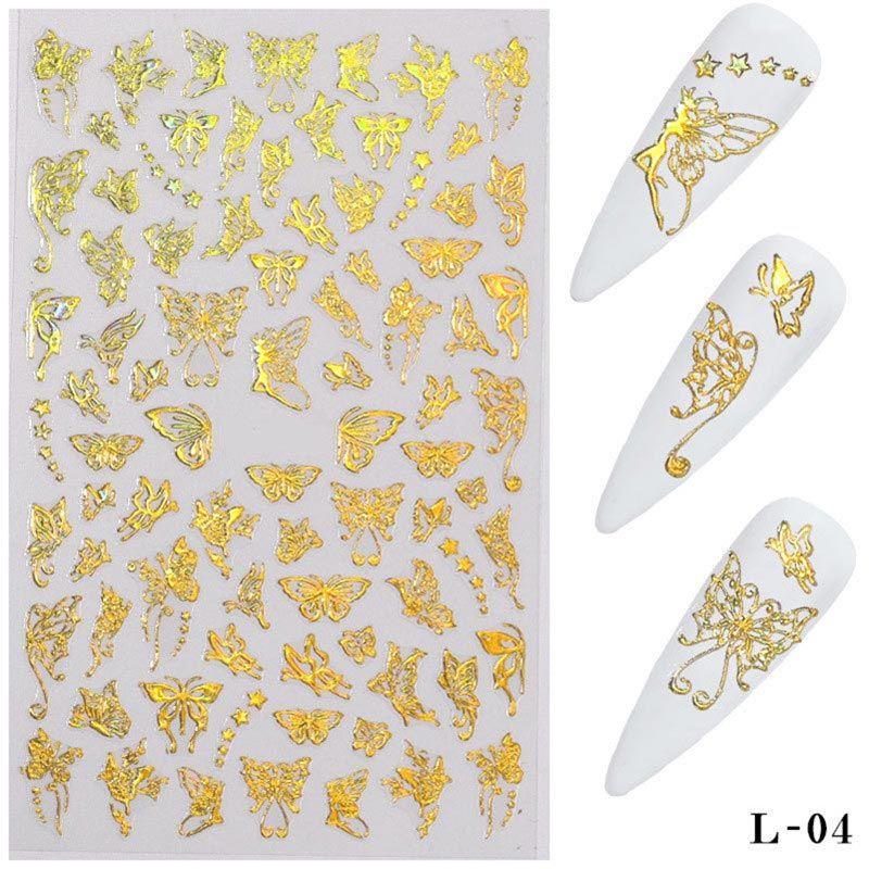 3D Schmetterling Nail art Aufkleber Klebstoff Slider Bunte Transfer Abziehbilder Folien Wraps Dekorationen Laser