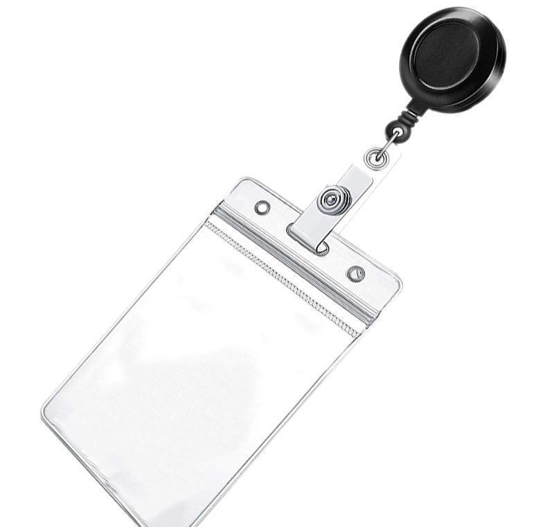 retractable reel id badge card holder + double sided vertical clear id pass holder bulk kit. nylon badge reel cord