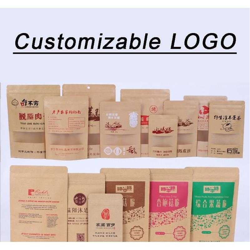 11 sizes brown kraft paper stand-up bags heat sealable resealable zip pouch inner foil food storage packaging bag with tear notch dbc