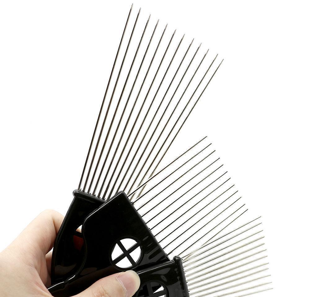 black plast fist handle afro brush stianless steel wide teeth metal hair pick afro comb with fist