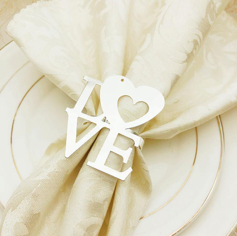 Valentine's Day Wedding Napkin Rings Metal Napkin Holders For Dinners Party Hotel Wedding Table Decoration Napkin Buckle T1I3434