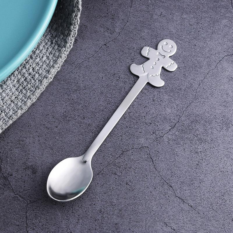 Vajilla de regalo de Navidad Cuchara de navidad de acero inoxidable Cucharada de café europea Churchware Postre Spoon T3I51551