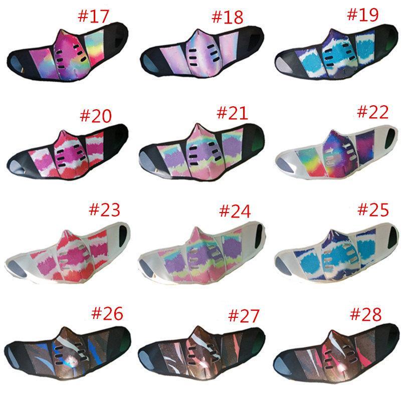 28 Design Unisex Gesichtsmasken PU-Leder Staubdichte Gesichtsmaske Mode Druck Männer Frauen Durable Mund Masken Outdoor Anti-Nebel-Party Gesichtsmaske heiß