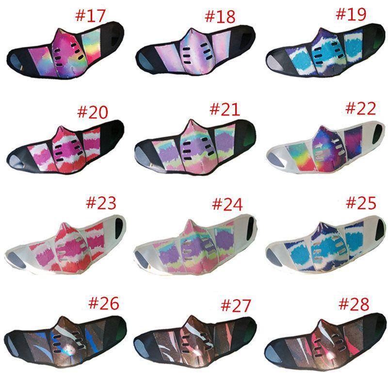 28 Diseño Unisex Face Masks PU Cuero Polvo Ahip Mask Fashion Print Hombres Mujeres Durable Mascarillas de la boca al aire libre anti-niebla Fiesta Mascarilla CALIENTE CALIENTE