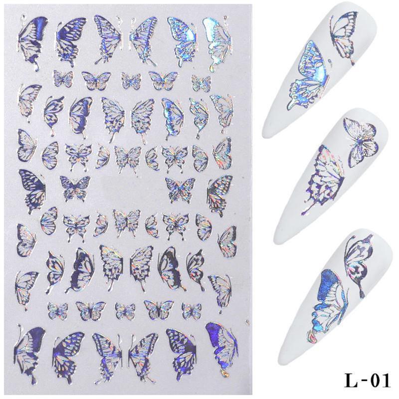 Borboleta 3D Nail Art Adesivos Adesivos Sliders de decalques de transferência coloridos Folhas de decoração de decorações