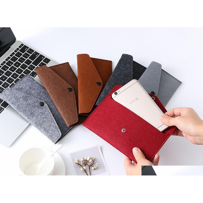 22 colors wholesale felt mobile phone bag case universal cell phone holder envelope locking cloth bag coin purse wallets package