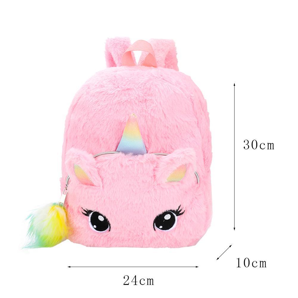 Unicornio Animal School Bag Backpack Niños Niñas Historieta 3D Peluche Nueva Moda Relleno Kindergarten Mochila linda del bebé