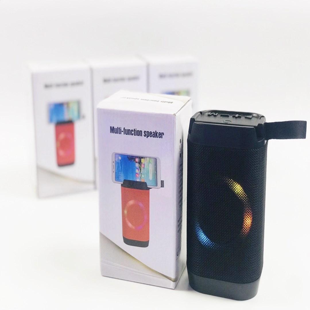 Bluetooth mini alto-falante com suporte de telefone portátil caixa de som sem fio fm luzes colorida luzes coloridos montagem de telefone