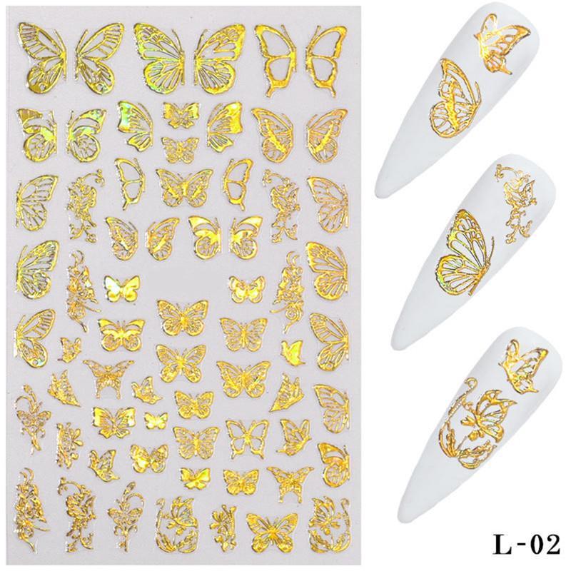 3D Kelebek Nail Art Etiketler Yapıştırıcı Kaydırıcılar Renkli Transfer Çıkartmaları Folyo Sarar Süslemeleri Lazer