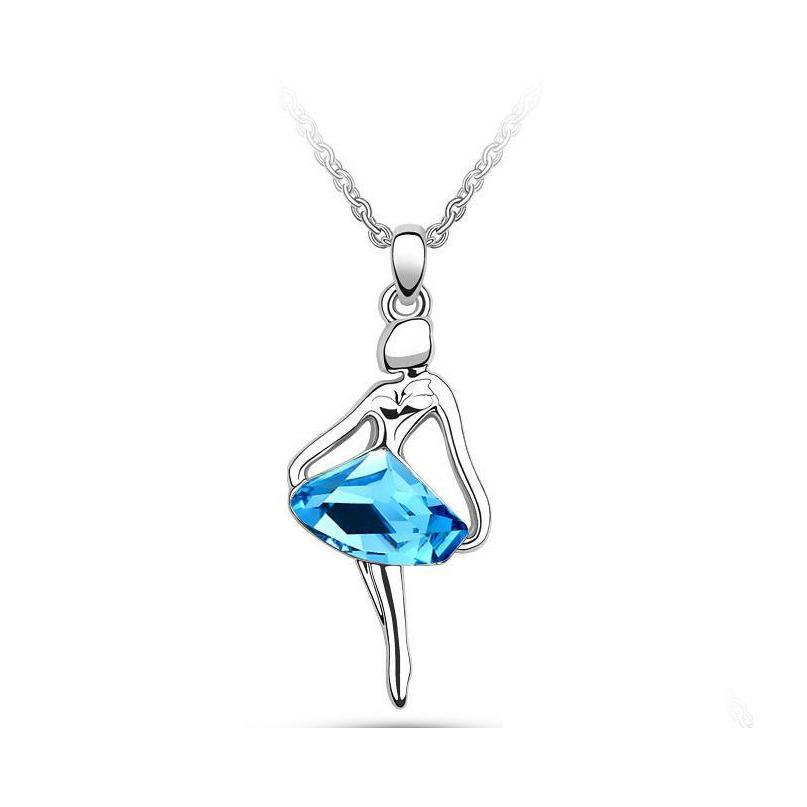 18k white gold plated ballet dancing girl figure crystal necklace earrings bracelet jewelry set for women sapphire wedding jewelry
