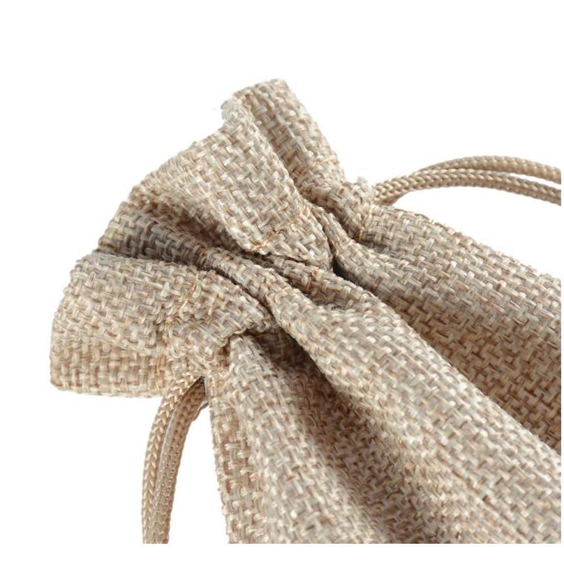 7x9cm 9x12cm 10x15cm 13x18cm original color mini pouch jute bag linen hemp jewelry gift pouch drawstring bags for wedding favors,beads