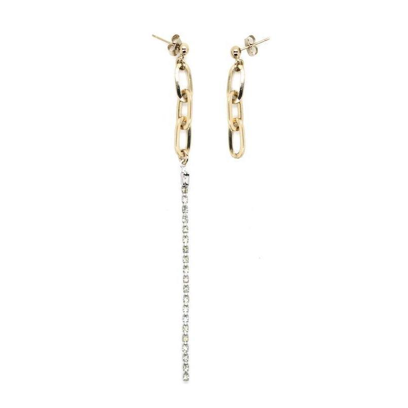 justine clenquet asymmetric metal chain crystal earrings fashion personality hip hop punk ladies earrings birthday gift