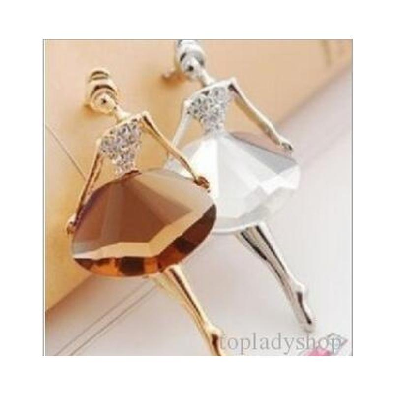 shipping accessories bling gem brooch ballet girl fashion elegant brooch popular crystal rhinestone pin body jewelry gift for